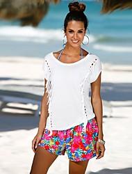 baratos -Mulheres Camiseta Moda de Rua Vazado, Sólido