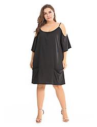 זול -כתפיה מעל הברך שמלה נדן רזה מידות גדולות ליציאה בגדי ריקוד נשים / סקסית