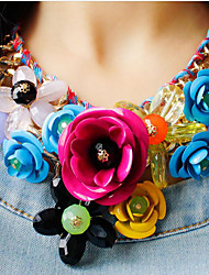 cheap Jewelry & Watches-Women's Plaited / Bib Pendant Necklace / Statement Necklace - Flower Luxury Green, Pink, Rainbow Necklace 1pc For Party, Special Occasion, Birthday
