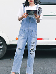 cheap -Women's Cotton Loose Overalls Pants - Letter High Waist / Going out