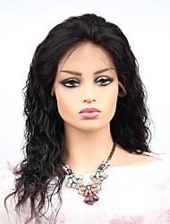 abordables -Cabello Remy Encaje Frontal Peluca Cabello Brasileño Ondulado Peluca Corte asimétrico 130% Mujer / Fácil vestidor / sexy lady Negro Mujer Larga Pelucas de Cabello Natural