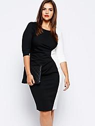 economico -Per donna Attillato Vestito - Collage, Tinta unita Maxi In bianco e nero