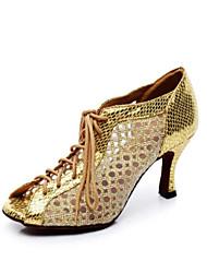 baratos -Mulheres Sapatos de Dança Latina Couro Ecológico Salto Salto Alto Magro Sapatos de Dança Dourado / Preto / Prata / Ensaio / Prática