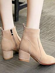 baratos -Mulheres Sapatos Camurça Outono & inverno Plataforma Básica / Botas da Moda Botas Salto Robusto Dedo Fechado Preto / Cinzento / Amêndoa