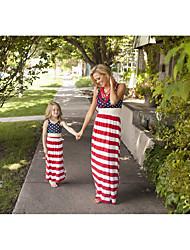economico -Adulto / Bambino / Bambino (1-4 anni) Mamma e io Blu e bianco Monocolore Senza maniche Salopette e tuta