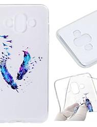 billiga -fodral Till Samsung Galaxy J7 Duo / J6 Genomskinlig / Mönster Skal Fjädrar Mjukt TPU för J8 / J4 / J2 PRO 2018
