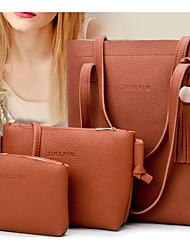 baratos -Mulheres Bolsas PU Conjuntos de saco 3 Pcs Purse Set Ziper / Mocassim Laranja / Rosa / Cinzento Claro