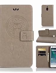 Недорогие -Кейс для Назначение Nokia Nokia 2.1 Кошелек / Бумажник для карт / со стендом Чехол Сова Твердый Кожа PU для Nokia 2.1
