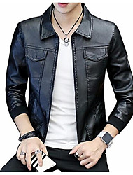 cheap -Men's Cotton / Linen Leather Jacket - Solid Colored / Long Sleeve