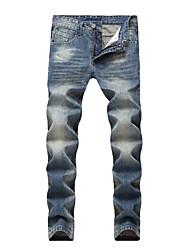 abordables -Hombre Tallas Grandes Algodón Delgado Vaqueros Pantalones - Un Color / Deportes