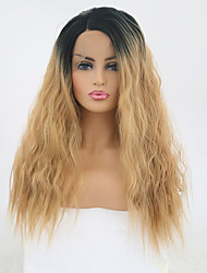 cheap -Synthetic Lace Front Wig Loose Wave Ombre Side Part Black / Gold Synthetic Hair 20 inch Women's Adjustable / Heat Resistant / Party Ombre Wig Long Lace Front