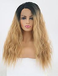 Χαμηλού Κόστους -Συνθετικές μπροστινές περούκες δαντέλας Χαλαρό Κυματιστό Ombre Πλευρικό μέρος Μαύρο και Χρυσό Συνθετικά μαλλιά 20 inch Γυναικεία Ρυθμιζόμενο / Ανθεκτικό στη Ζέστη / Πάρτι Ombre Περούκα Μακρύ