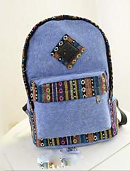 cheap -Women's Bags Canvas School Bag Zipper Blue / Green / Light Grey