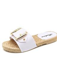 baratos -Mulheres Sapatos PVC Primavera Verão Conforto Chinelos e flip-flops Sem Salto Branco / Preto