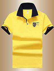Недорогие -Муж. Polo Рубашечный воротник Классический Однотонный / С короткими рукавами / Лето