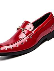 Недорогие -Муж. Свиная кожа Осень Удобная обувь Мокасины и Свитер Черный / Красный