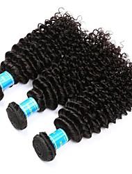 Недорогие -3 Связки Бразильские волосы Бирманские волосы Kinky Curly 10A Не подвергавшиеся окрашиванию Человека ткет Волосы 8-30 дюймовый Естественный цвет Ткет человеческих волос Машинное плетение