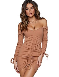 preiswerte -Damen Party / Klub Sexy Baumwolle Skinny Bodycon Kleid - Kordelzug, Solide Mini Schulterfrei