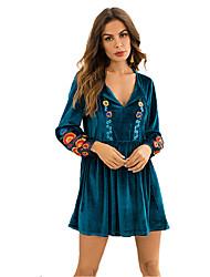 baratos -Mulheres Para Noite Boho Veludo Rodado Vestido Tribal Decote em V Profundo Mini