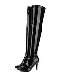 Недорогие -Жен. Обувь Лакированная кожа Наступила зима Модная обувь Ботинки На шпильке Заостренный носок Сапоги выше колена Белый / Черный / Красный / Свадьба / Для вечеринки / ужина