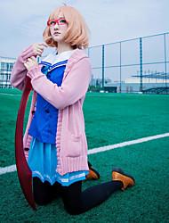 baratos -Inspirado por Para além do limite Kuriyama Mirai Anime Fantasias de Cosplay Ternos de Cosplay Marinheiro Manga Longa Peitilho / Saias / Blusa Para Mulheres