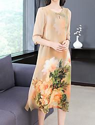 Недорогие -Жен. Классический С летящей юбкой Платье - Цветочный принт, С принтом Средней длины