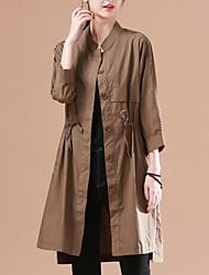 halpa -naisten pitkä takki - kiinteä värillinen