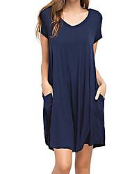 cheap -Women's Going out Basic Loose T Shirt Dress V Neck / Summer