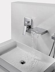 Недорогие -Смеситель для ванны - Современный Хром На стену Медный клапан Bath Shower Mixer Taps / Латунь / Одной ручкой три отверстия