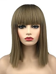 cheap -Synthetic Wig Straight Short Bob Synthetic Hair 16 inch Synthetic Dark Brown Gold Blonde Ombre Wig Women's Mid Length Capless