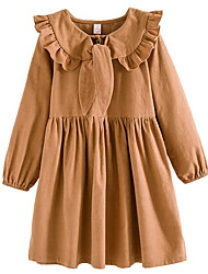 levne -Děti Dívčí Jednobarevné Dlouhý rukáv Šaty