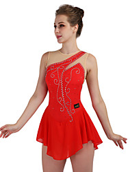 cheap -Figure Skating Dress Women's / Girls' Ice Skating Dress Red Rhinestone / Sequin High Elasticity Performance / Practise / Leisure Sports