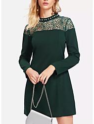 baratos -Mulheres Para Noite De Renda Bainha Vestido Sólido Gola Redonda Mini