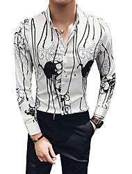 Недорогие -Муж. Рубашка Классический воротник Тонкие Контрастных цветов / Длинный рукав