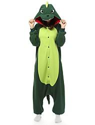 baratos -Adulto Pijamas Kigurumi Dinossauro Pijamas Macacão Lã Polar Verde Cosplay Para Homens e Mulheres Pijamas Animais desenho animado Dia das Bruxas Festival / Celebração