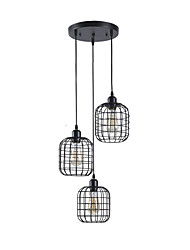 cheap -Vintage Industrial Metal Cage Cluster Chandelier 3-Head Living Room Dining Room Pendant Lamp
