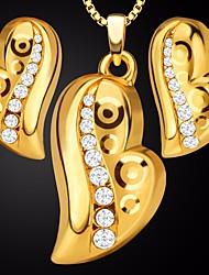 preiswerte -Damen Kubikzirkonia Stilvoll Schmuck-Set - 18K vergoldet Herz Romantisch, Süß, Elegant Einschließen Kreolen Halskette Gold Für Verabredung Bar