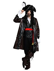baratos -Piratas do Caribe / Pirata Roupa Homens Dia Das Bruxas / Carnaval / Dia da Criança Festival / Celebração Trajes da Noite das Bruxas Marron Sólido / Halloween Dia Das Bruxas