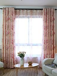 baratos -Cortinas cortinas Quarto Floral Mistura de poliéster Estampado e Jacquard