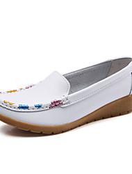baratos -Mulheres Sapatos de couro Pele Primavera Verão Minimalismo Rasos Sem Salto Ponta Redonda Vinho / Amêndoa / Khaki