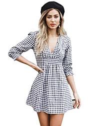 preiswerte -Damen Street Schick Baumwolle Kleid - Druck, Schachbrett Mini V-Ausschnitt Schwarz & Weiß