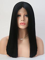 billige -Syntetisk blonder foran parykker Rett Svart Midtdel Svart Syntetisk hår 16 tommers Dame Justerbar / Varme resistent Svart Parykk Medium Lengde Blonde Forside