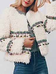 baratos -Mulheres Jaqueta Moda de Rua / Sofisticado - Sólido / Geométrica Franjas