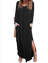 baratos -Mulheres balanço Vestido Decote V Longo