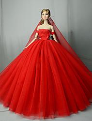 Недорогие -Платья Платье Для Кукла Барби Красный Тюль / Кружево / Шелково-шерстяная ткань Платье Для Девичий игрушки куклы