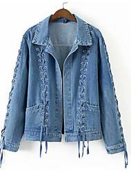 Недорогие -Жен. Повседневные Активный Короткая Джинсовая куртка, Однотонный Отложной Длинный рукав Полиэстер Синий S / M / L