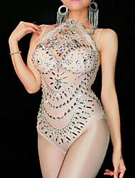 baratos -Trajes de dança Roupas de Dança Exótica / Macacões de boate Mulheres Espetáculo Elastano Franzido / Cristal / Strass Sem Manga Collant / Pijama Macacão