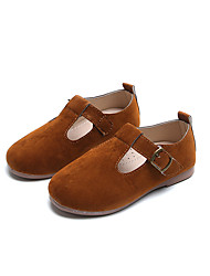 cheap -Girls' Shoes Suede Spring &  Fall Flower Girl Shoes Flats Walking Shoes Buckle for Kids Light Brown / Dark Brown