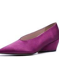 Недорогие -Жен. Полотно Осень Удобная обувь На плокой подошве На толстом каблуке Черный / Лиловый