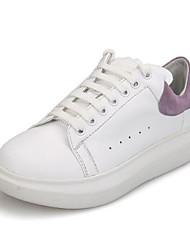 Недорогие -Жен. Обувь Наппа Leather Весна / Лето Удобная обувь Кеды На плоской подошве Закрытый мыс Белый / Черный / Белый и фиолетовый